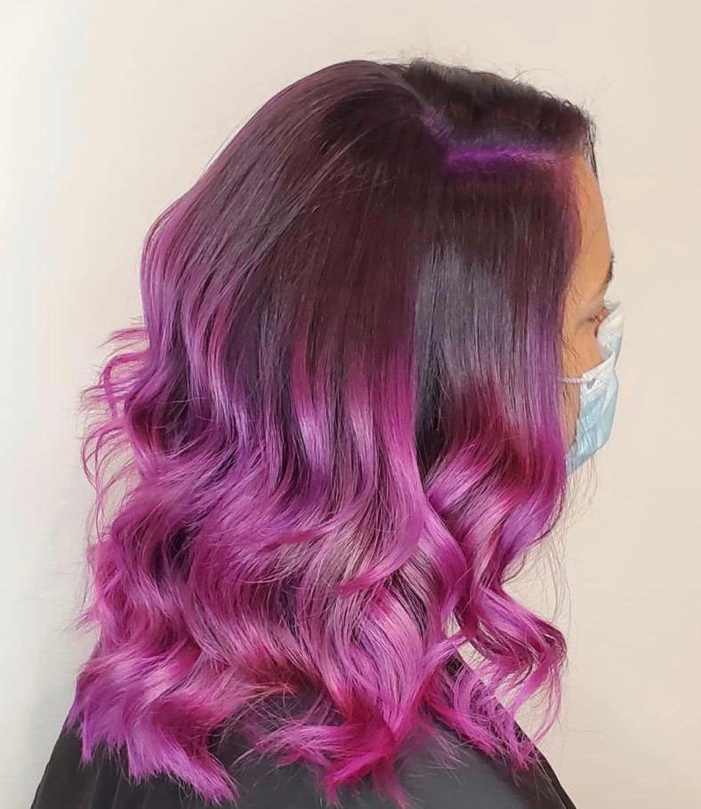 bright-pink-highlights-hair-color