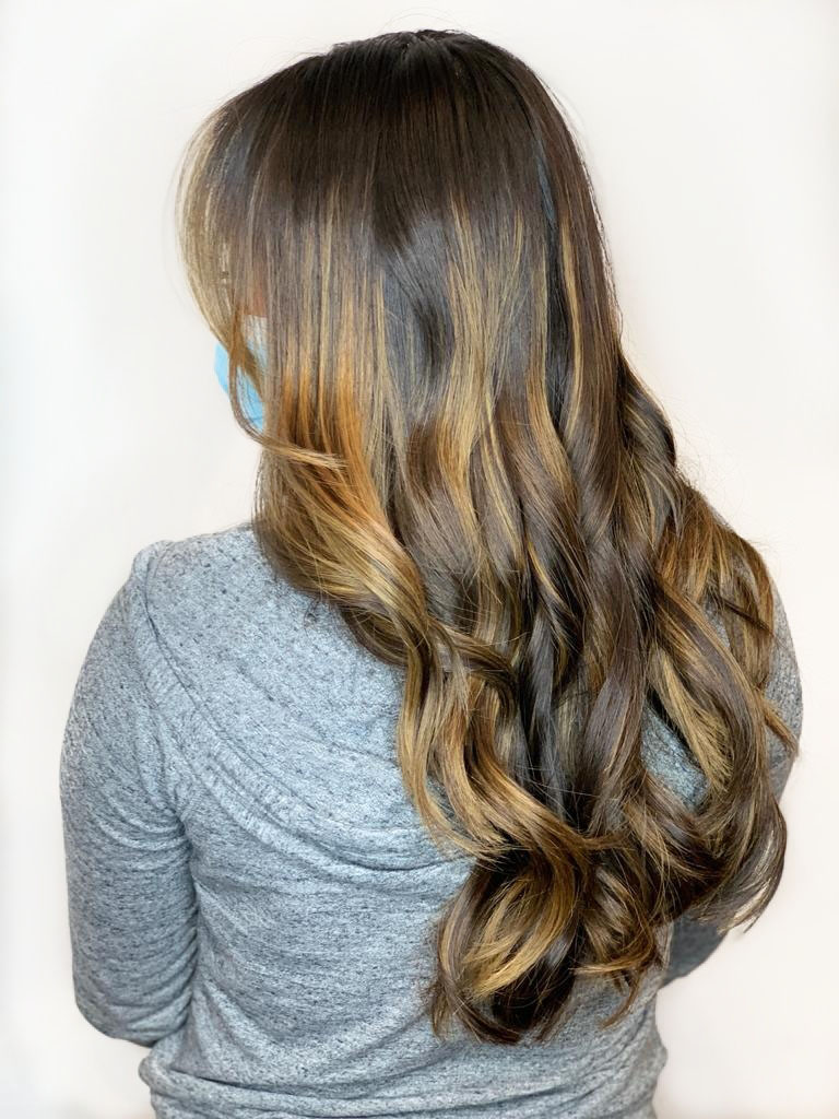 caramel-balayage-on-dark-hair